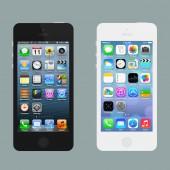 Vergleich von iOS 6 und iOS 7 (Mockups: © Josh Laincz, Screenshots: © Apple Inc.)